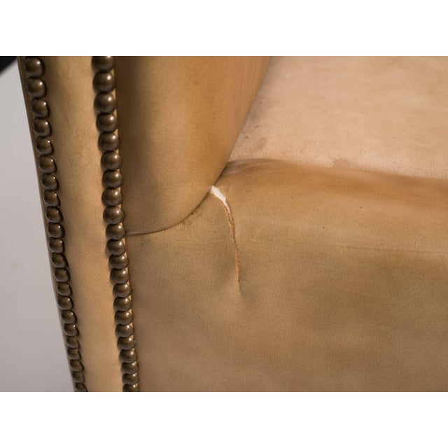 1970s Vintage Leather Nailhead Cube Settee For Sale - Image 4 of 10