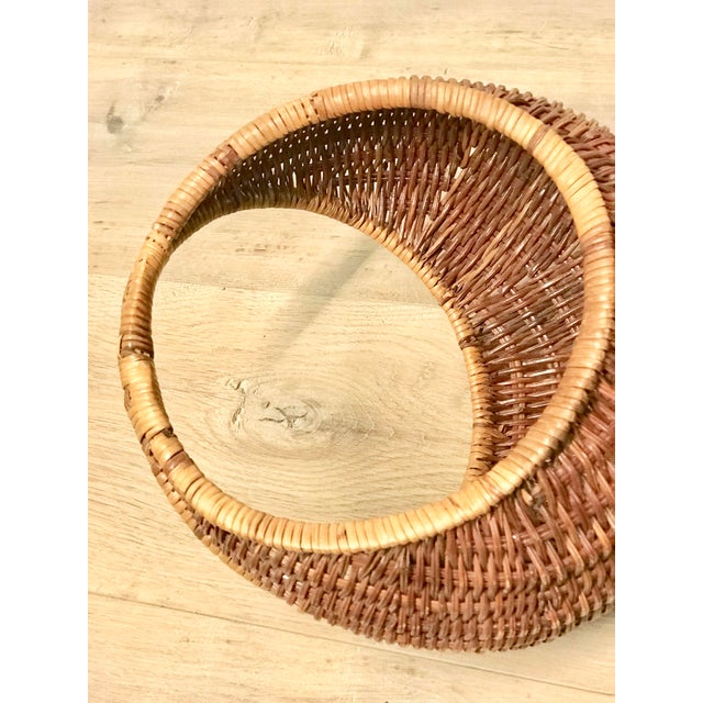 Brown Nesting Gondola Woven Wicker Rattan Baskets - a Pair For Sale - Image 8 of 12