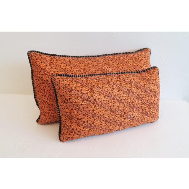Custom Orange Pattern Pillows - a Pair - Image 2 of 4