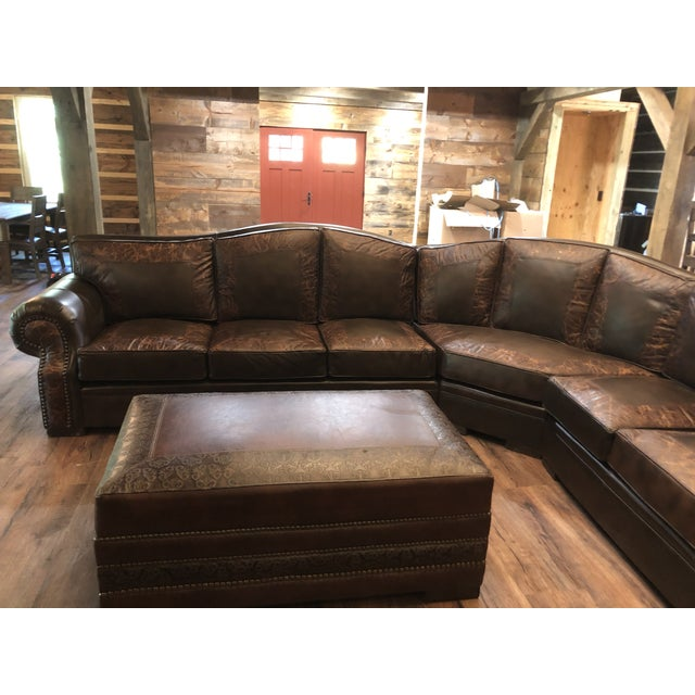 Western Leather Ranch L Shaped Sectional