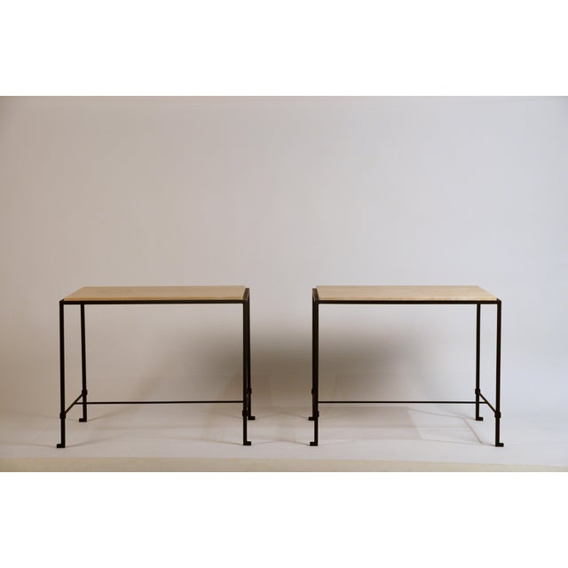 'Diagramme' Wrought Iron and Travertine Side Tables by Design Frères - a Pair For Sale - Image 9 of 9