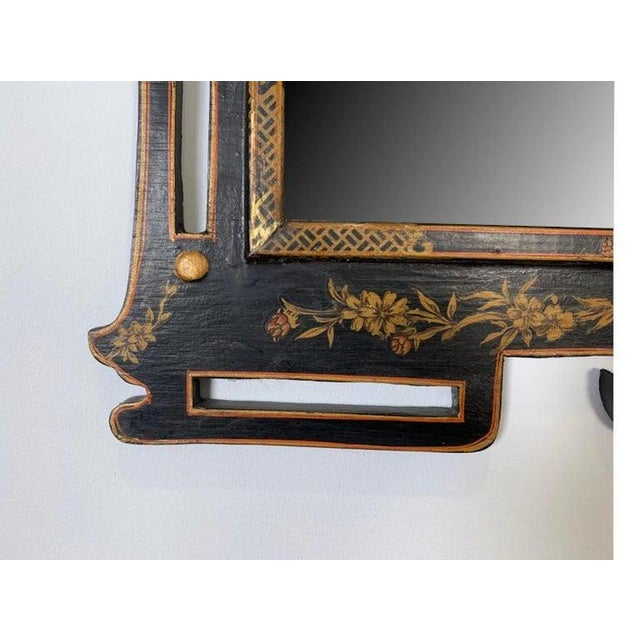 Black 1950s Asian Style Decorative Chinoiserie Hand Painted Mirror For Sale - Image 8 of 11