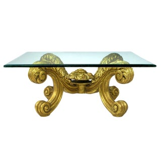 Hand-Carved and Gilt Spanish Rococo Coffee Table For Sale