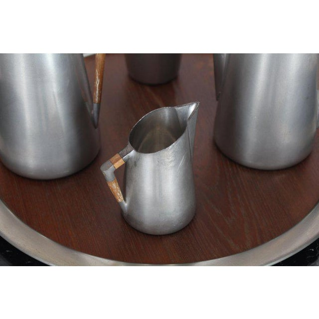 Metal Five Pieces Mid-Century Modern Tea Coffee Set by Royal Holland Pewter Teak For Sale - Image 7 of 13
