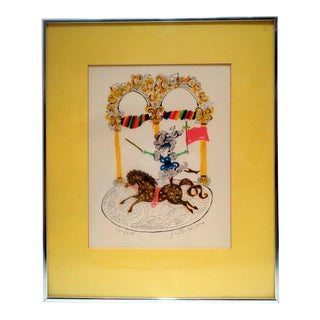 Judith Bledsoe (California, 1938-2013) Horse Dancer Circus Signed Numbered Lithograph For Sale