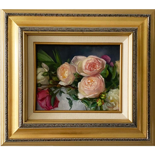 Oil Painting of Garden Roses - Framed For Sale - Image 10 of 10