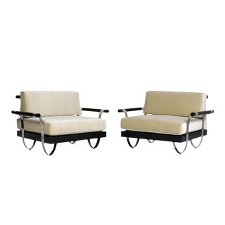 Pair of Mid-Century Modern Ebonized Wood and Chrome Lounge Chairs For Sale