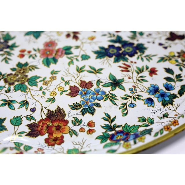 Metal Vintage Chintz Floral Metal Tray by Daher For Sale - Image 7 of 11