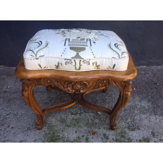 Vintage Walnut French Provincial Bench With Embroidered Upholstery For Sale - Image 10 of 10
