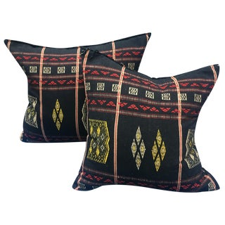 Burmese Chin Tribal Textile Pillows - A Pair