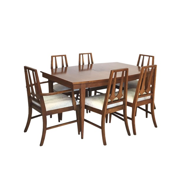 Mid Century Modern Dining Table and 6 Chairs in the Brasilia Style For Sale