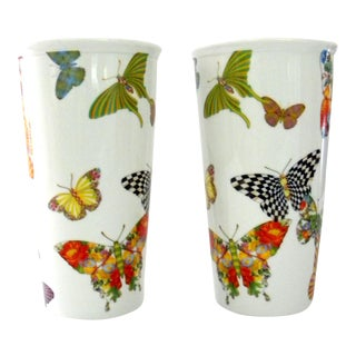 MacKenzie Childs Ceramic Butterfly Garden Tumblers - Set of 2 For Sale