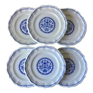 "Antique Gien ""Rouen"" Faience Dinner Plates-France - Set of 6"