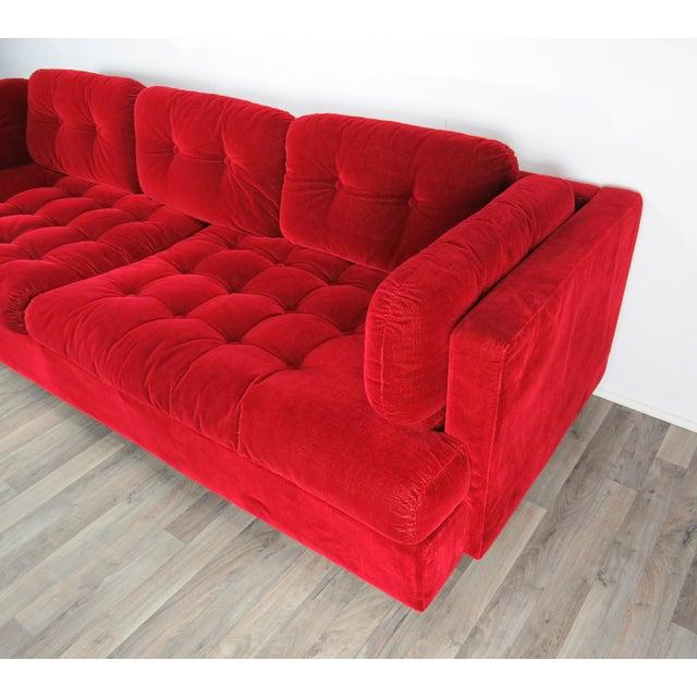 "Atelier International 1960s Mid-Century Modern Lipstick Red Button-Tufted ""Cord"" Velvet Sofa For Sale - Image 4 of 13"