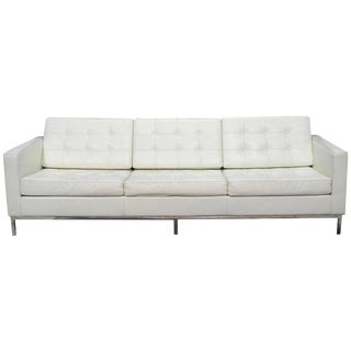 Florence Knoll Style Three-Seat Sofa in White Leather With Steel Frame