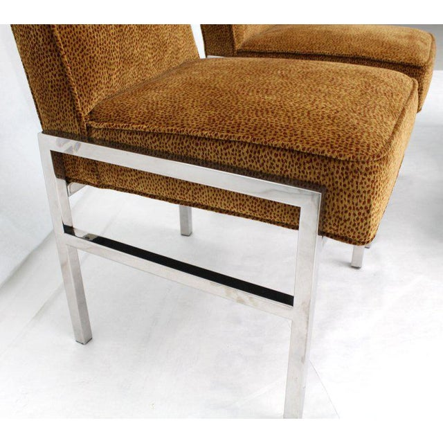 Metal Set of Eight Chrome Frame New Upholstery Dining Chairs Two-Arm Chairs For Sale - Image 7 of 13