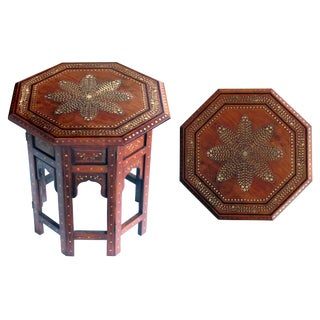 An Intricately Inlaid Anglo Indian Octagonal Side/Tea Table With Brass Inlay For Sale