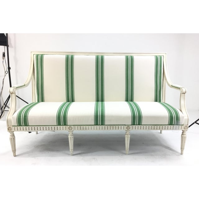 Green Mark D. Sikes for Henredon Green Stripped Presido Sofa/Bench For Sale - Image 8 of 8