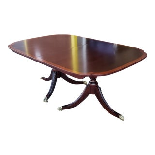 Stickley Furniture Banded Mahogany Duncan Phyfe Dining Room Table W/ 4 Leaves For Sale