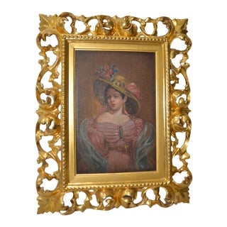 Fine Early 20th Century Oil Portrait in a Hand Carved Gilded Frame C.1910