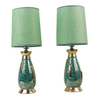 1950s Mid Century Gold and Teal Green Table Lamps - a Pair For Sale