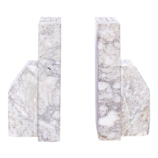 1930s Italian Carved Marble Bookends - a Pair For Sale