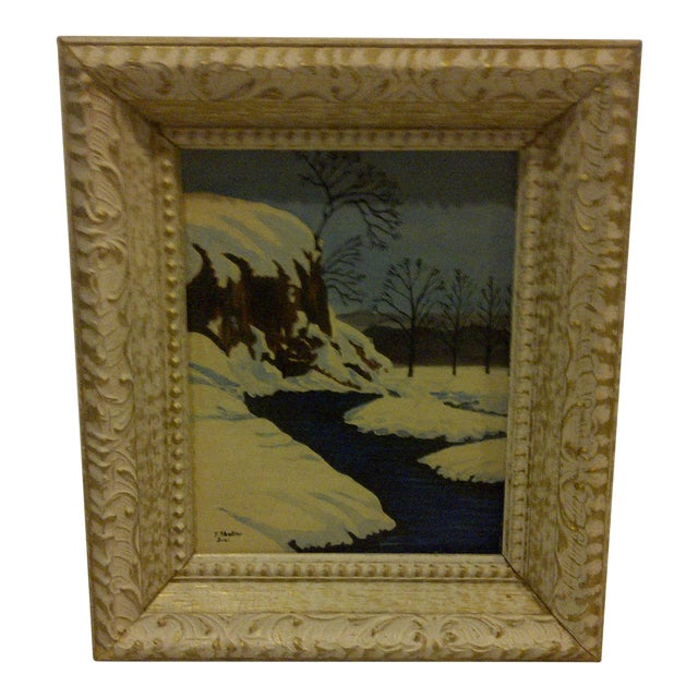 "Traditional Original Painting ""Snowy Stream"" by F. Shaffer 1961 For Sale"