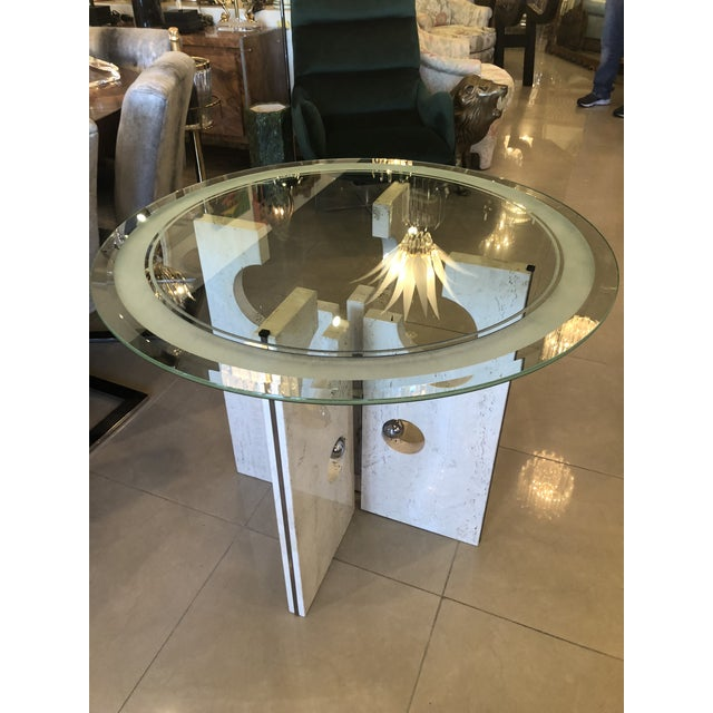 Vintage Modern Marble and Chrome Center or Dining Table For Sale - Image 13 of 13