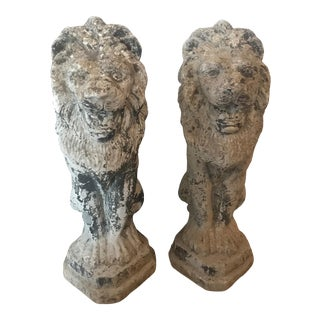 French Antique Cast Stone Lion Garden Statues or Ornaments -A Pair For Sale