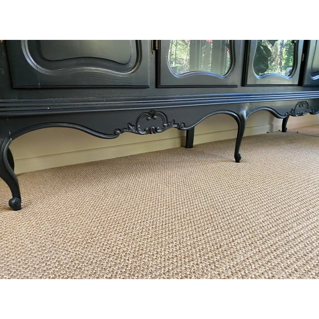 Mid 20th Century 20th Century French Country Dark Gray Hutch Buffet For Sale - Image 5 of 10