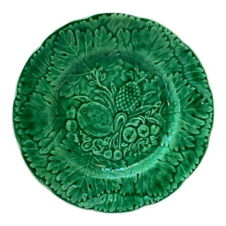 1880 French Green Majolica Fruits Plate For Sale