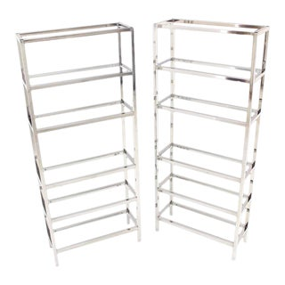 Mid-Century Modern Tall Glass 6 Tier Shelves Chrome Etageres - a Pair For Sale