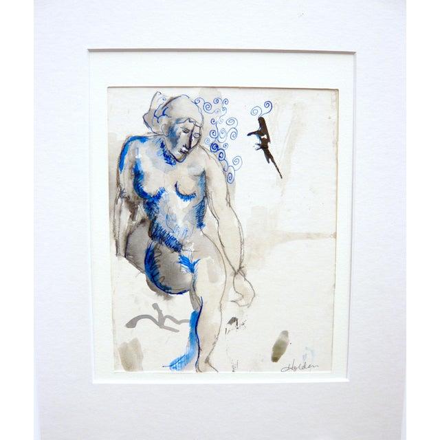 """Blue Nude"" Original Drawing - Image 1 of 4"