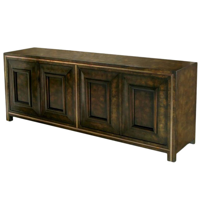 Elegant Burled Amboyna and Brass Sideboard by Mastercraft For Sale