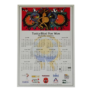1998 Native American Indian Tunica - Biloxi Pow Wow Calendar For Sale