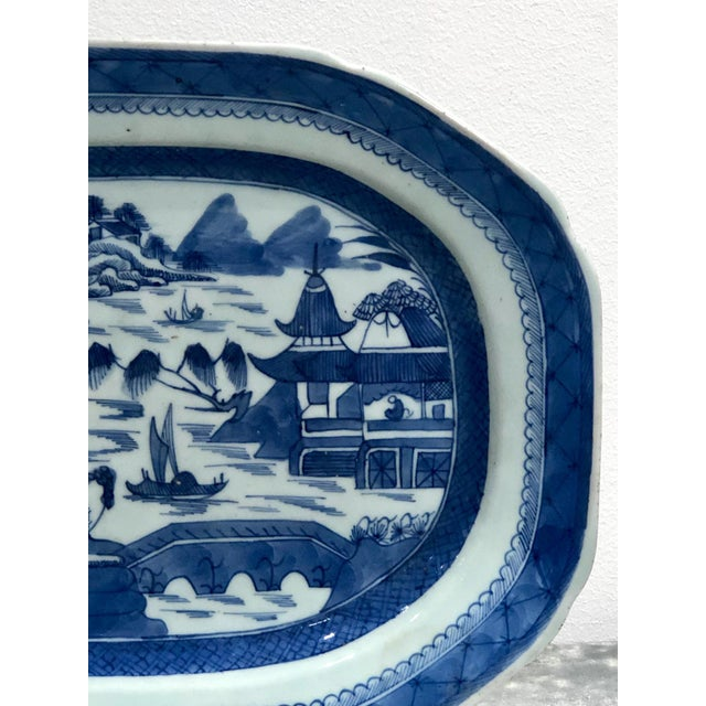 A mid 19th Century Export blue and white platter in the Canton Style, China circa 1840