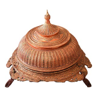 Large Burmese Gilt and Lacquered Wood Temple Offering Vessel For Sale
