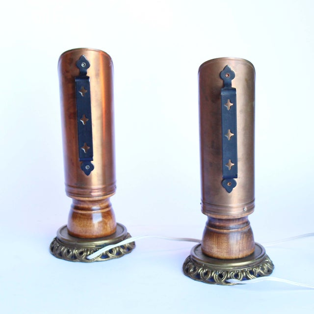 Vintage Copper Candleholder Lamps - A Pair - Image 4 of 6