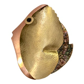 Brass, Copper & Abalone Fish Catchall For Sale