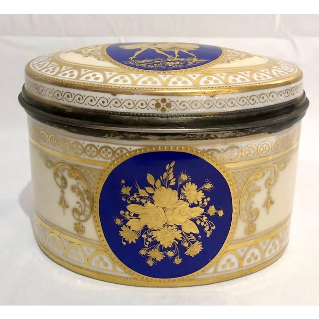 Late 19th Century Antique Dresden Porcelain Box With Silver Interior, Circa 1891-1901 For Sale - Image 5 of 5