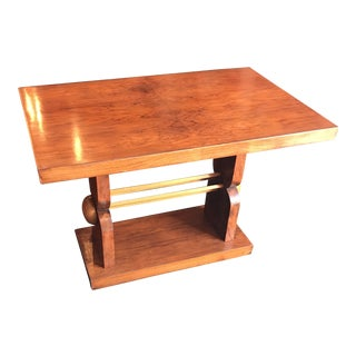 French Art Deco Wooden Coffee Table With Magazine Holder