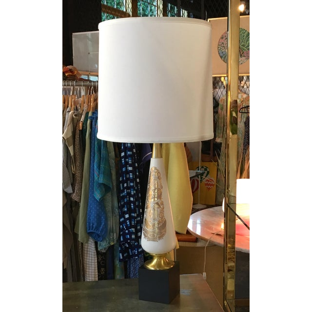 Georges Briard Gold & Black Glass Table Lamp For Sale In New York - Image 6 of 6