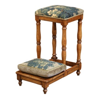 18th Century French Carved Chestnut Prayer Chair With Aubusson Tapestry For Sale