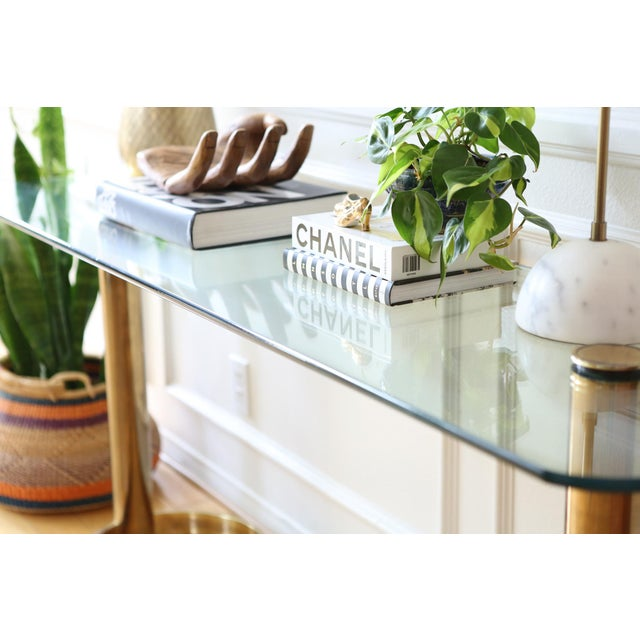 Mid-Century Pace Collection Glass Console Table - Image 6 of 8
