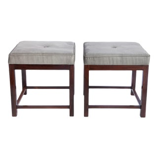 Mid-Century Modern Brazilian Stools in Jacaranda with Upholstered Seats - a Pair For Sale