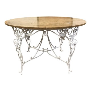 1940s French Wrought Iron Center Table For Sale