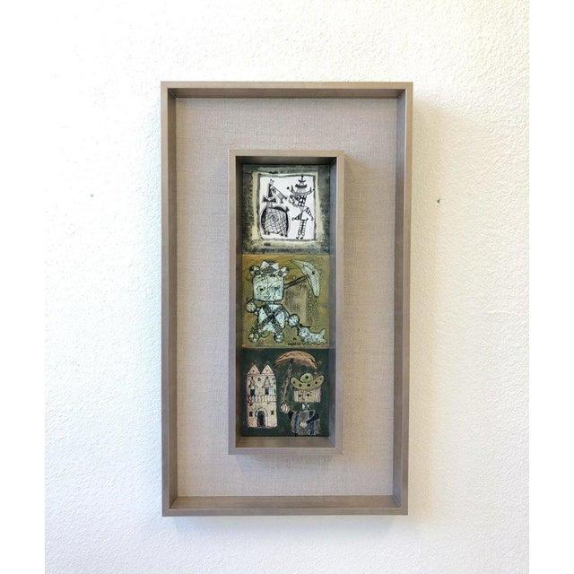 Bruno Capacci Pair of Italian Studio Ceramic Tiles by Bruno Capacci For Sale - Image 4 of 9