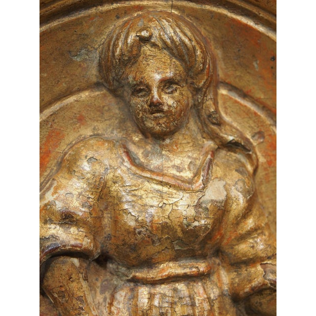 18th century giltwood bas relief carving For Sale - Image 4 of 8