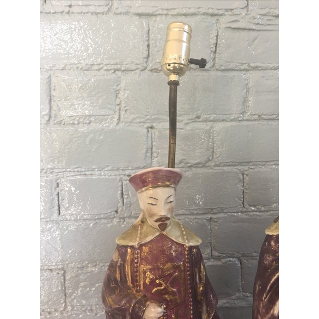 Chinese Ancestral Figural Lamps - Pair - Image 3 of 10