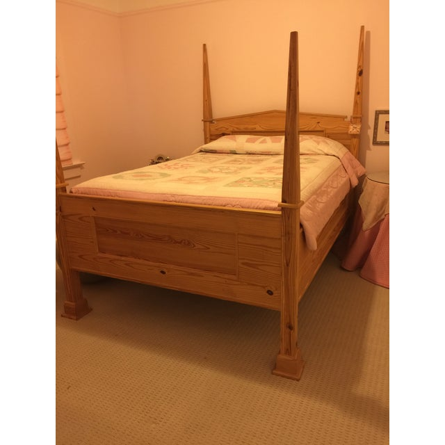 1990s Vintage Custom-Built Natural Pine Queen Bed For Sale - Image 9 of 10